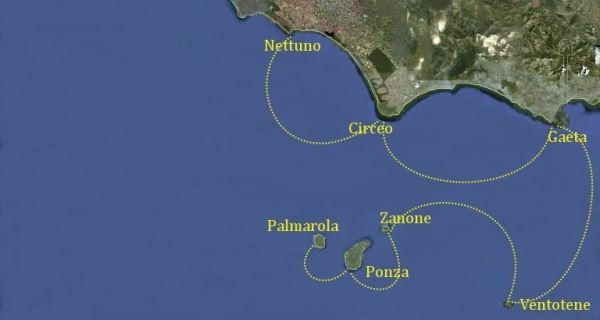 Mappa Itinerario Isole Pontine