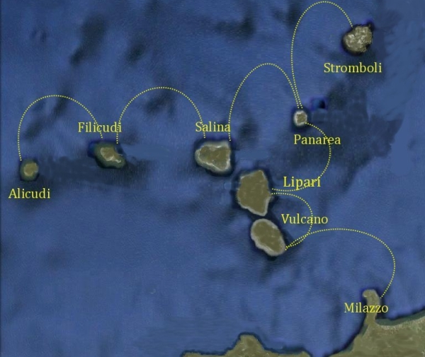 Mappa Itinerario Isole Eolie